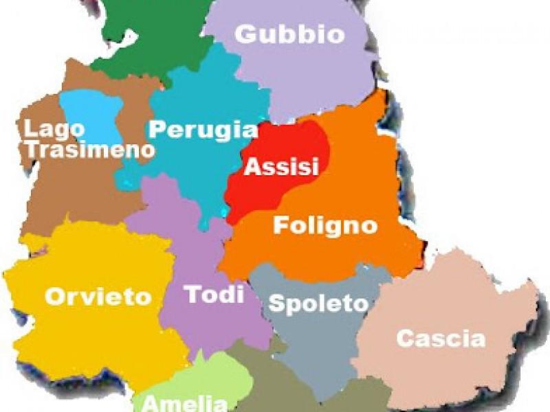 La cartina dell'Umbria. Dove trovare i luoghi più belli e importanti